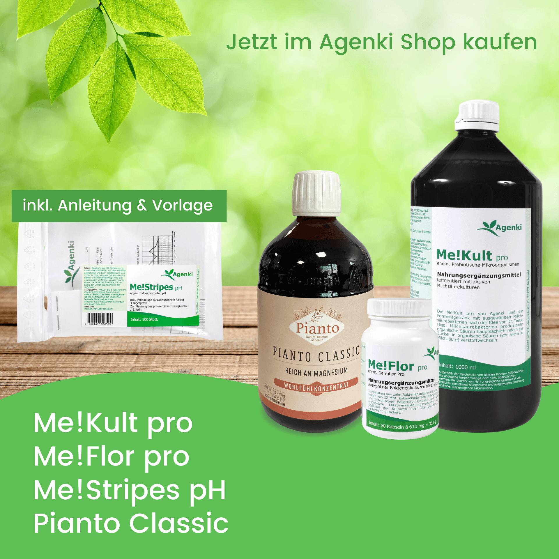 Me!Kult pro - Mikroorganismen, Me!Flor pro - Darmbakterien, Me!Stripes pH - pH Wert Urin Teststreifen und Pianto Classic - Agenki