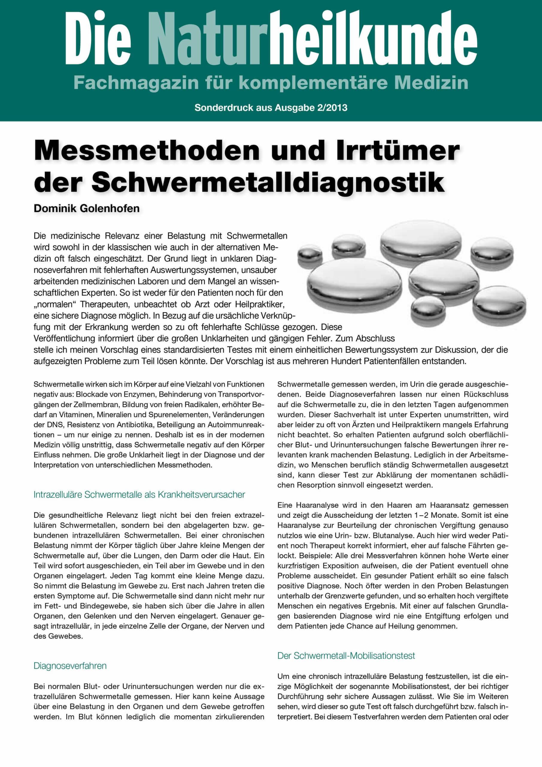 Artikel Messmethoden und Irrtümer der Schwermetalldiagnostik