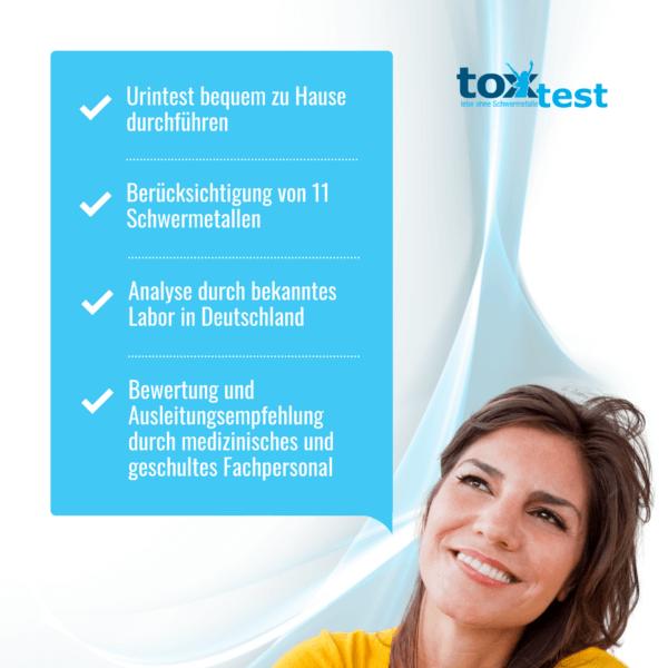 Leistungen des ToxTest – Der Schwermetall Test zum Selbermachen - Urintest