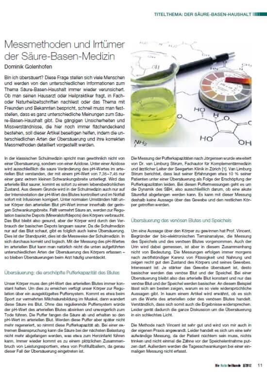 Messmethoden und Irrtuemer der Saeure-Basen-Medizin